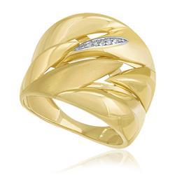 Anel Moderno com efeito Acetinado e 5 Pts em Diamantes, em Ouro Amarelo