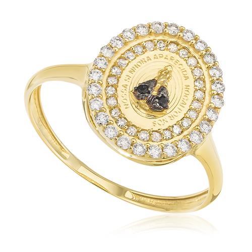 Anel Nossa Senhora Aparecida com 2 Safiras e 51 Pts em Diamantes, em Ouro Amarelo
