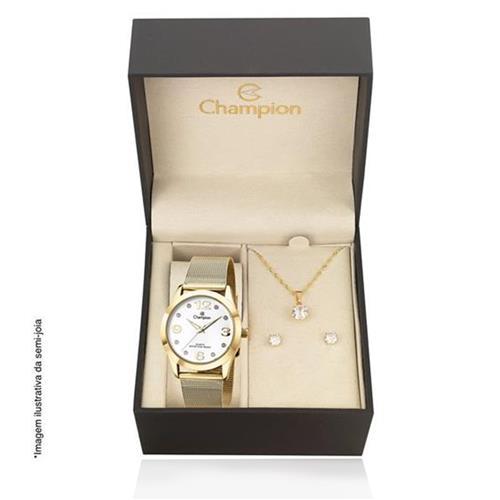 Relógio Feminino Champion Analógico CN29098W Kit Colar e Par de Brincos