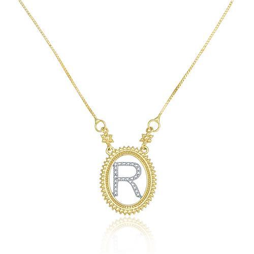 Gargantilha com Pingente letra R, em Ouro Amarelo