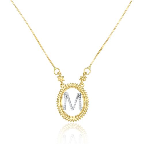 Gargantilha com Pingente letra M, em Ouro Amarelo