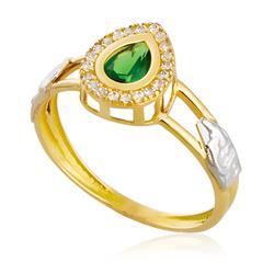 Anel de Formatura Gota com Diamantes e Gema, em Ouro Amarelo