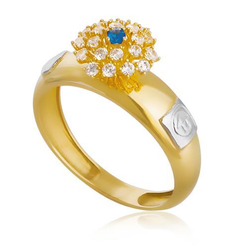 Anel de Formatura com Diamantes e Gema Redonda, em Ouro Amarelo
