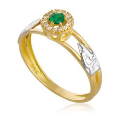 Anel de Formatura com Diamantes e Gema, em Ouro Amarelo