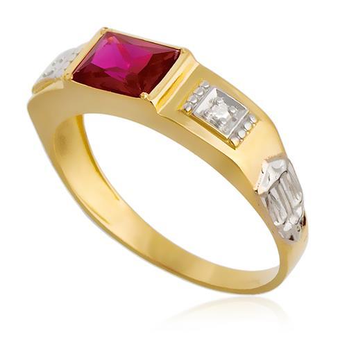Anel de Formatura Chapinha com 2 Diamantes e Gema, em Ouro Amarelo
