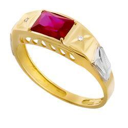 Anel de Formatura com 2 Diamantes e Gema Retangular, em Ouro Amarelo