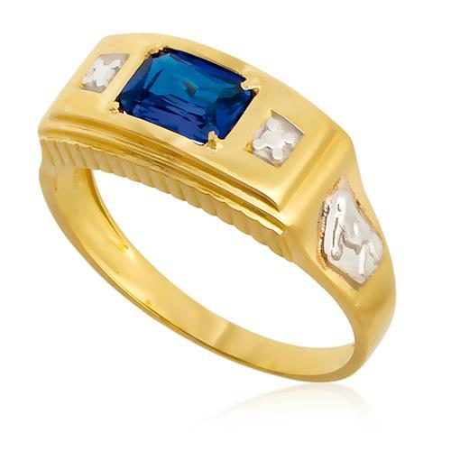 Anel de Formatura com Diamantes e Gema Retangular, em Ouro Amarelo