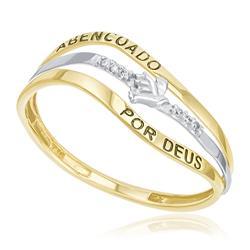 Anel Abençoado por Deus com 6 Diamantes, em Ouro Amarelo