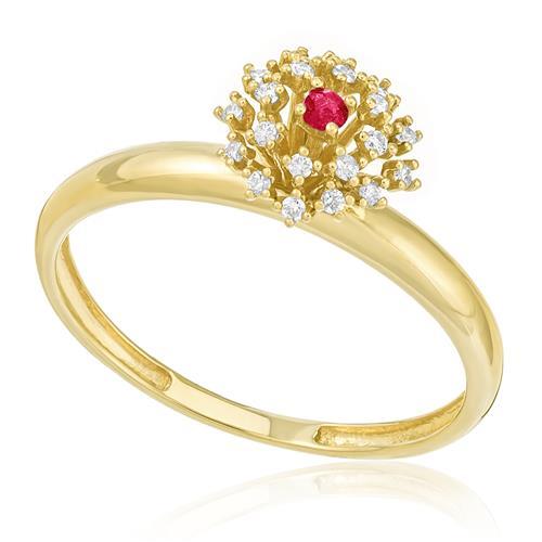 Anel com Rubi e 5 Pts em Diamantes, em Ouro Amarelo