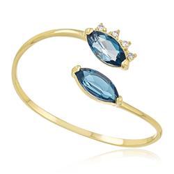 Anel com 4 Diamantes e 2 Topázios London Blue, em Ouro Amarelo