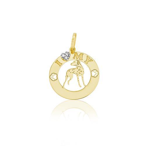 Pingente I Love My Pet com Diamantes, em Ouro Amarelo