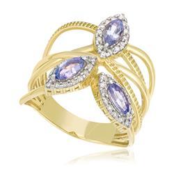 Anel com 42 Diamantes e Tanzanitas totalizando 81 pts., em Ouro Amarelo