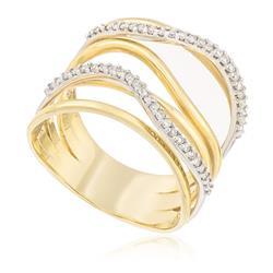 Anel Moderno com Aro Trabalhado com 25 Pts em Diamantes, em Ouro Amarelo