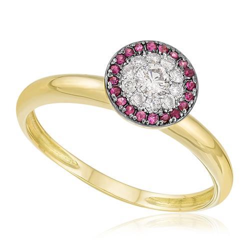 Anel com 12 Pts em Rubis e 19 Pts em Diamantes, em Ouro Amarelo