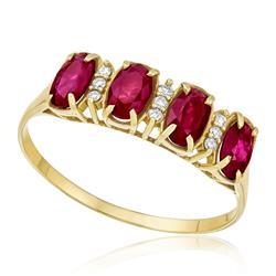 Meia Aliança com 4 Rubis totalizando 1,8 Cts e Diamantes, em Ouro Amarelo