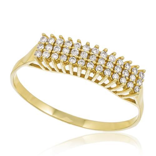 Meia Aliança Tripla com 39 Diamantes totalizando 19 Pts, em Ouro Amarelo