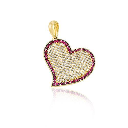 Pingente Coração com 86 Pts em Diamantes e Rubis, em Ouro Amarelo