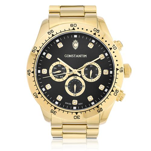 Relógio Constantim Daytona Gold Black ZW30278U Fundo Preto