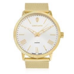 Relógio Constantim Diamond Gold Silver ZW20092H Fundo Prateado
