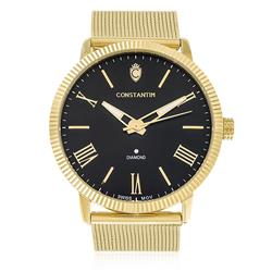 Relógio Constantim Diamond Gold Black ZW20092U Fundo Preto