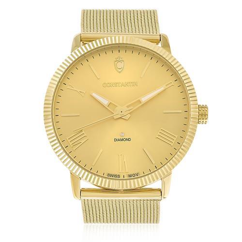 Relógio Constantim Diamond All Gold ZW20092G Fundo Dourado