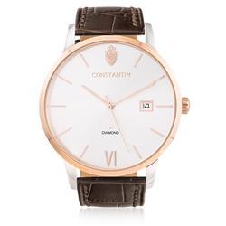 Relógio Constantim Diamond Rose Silver ZW20074M Couro Marrom