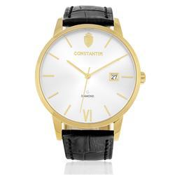 Relógio Constantim Diamond Gold Silver ZW20074S Couro Preto