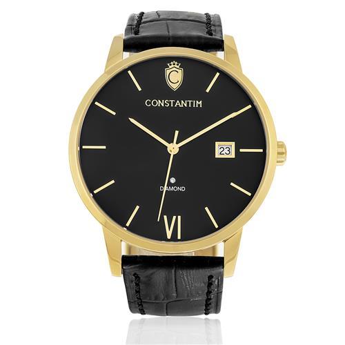 Relógio Constantim Diamond Gold Black ZW20074P Couro Preto