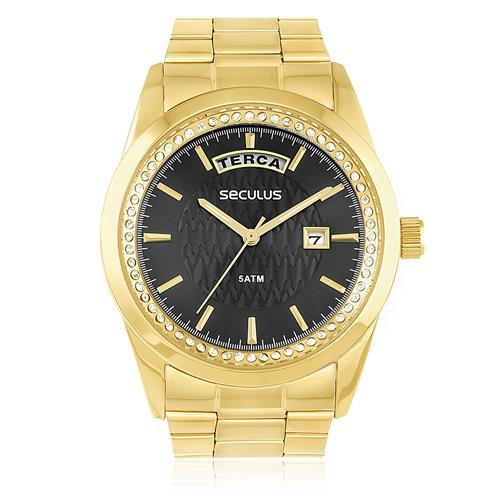 Relógio Seculus Analógico 28839LPSVDS4 Fundo Preto
