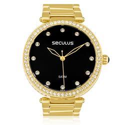 Relógio Feminino Seculus Analógico 20379LPSVDS2 Fundo Preto