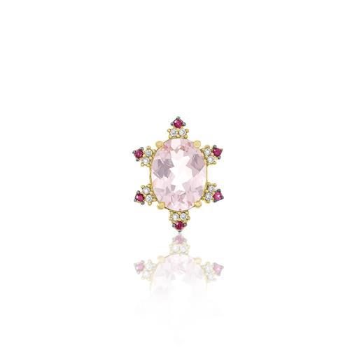 Pingente Oval com Morganita, Rubis e Diamantes, em Ouro Amarelo