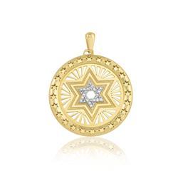 Pingente Estrela de Davi com Diamantes e Estrelas, em Ouro Amarelo