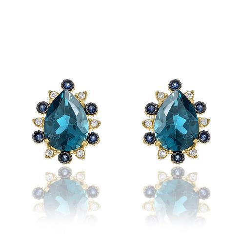 Par de Brincos com Topázios London Blue, Safiras e Diamantes, em Ouro Amarelo