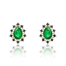 Par de Brincos com Jades, Safiras Negras e Diamantes, em Ouro Amarelo