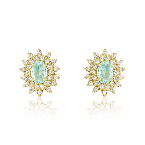 Par de Brincos com Turmalinas Paraíbas e Diamantes, em Ouro Amarelo