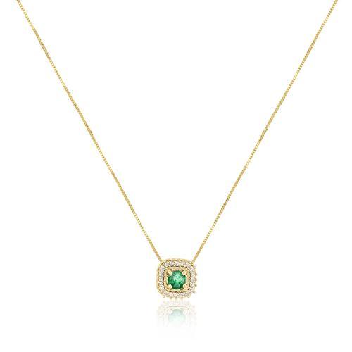 Corrente com Pingente com Esmeralda e Diamantes, em Ouro Amarelo