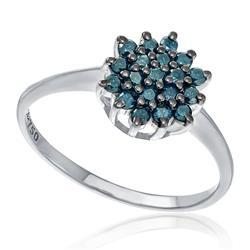 Anel com 19 Diamantes Azuis totalizando 57 Pts, em Ouro Branco