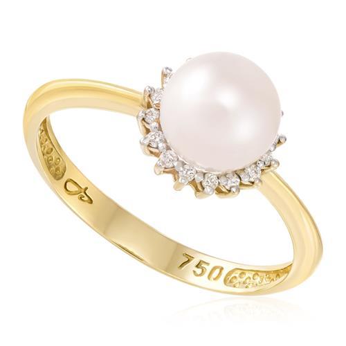 Anel com Pérola de 7 mm e 16 Diamantes, em Ouro Amarelo