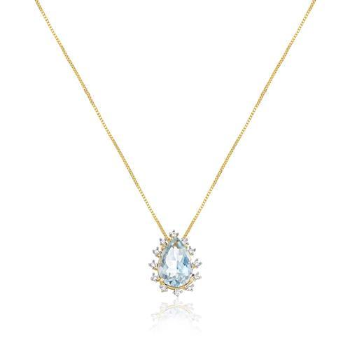 Corrente com Pingente Gota com Água Marinha e Diamantes, em Ouro Amarelo