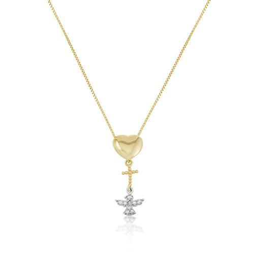 Gargantilha com Pingente Coração, Cruz e Espírito Santo com Diamantes, em Ouro Amarelo