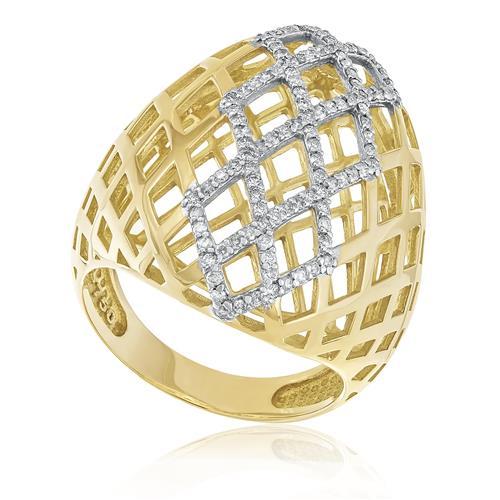 Anel Vazado com 111 Diamantes totalizando 66 Pts, em Ouro Amarelo