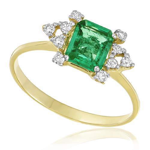 Anel com Diamantes totalizando 15 pts. e Esmeralda de 80 pts., em Ouro Amarelo
