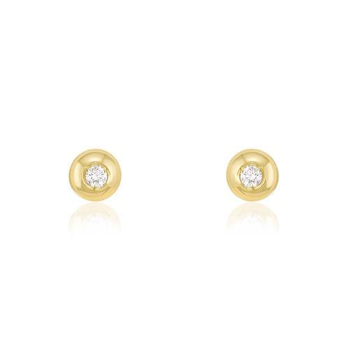 Par de Brincos com Diamantes totalizando 10 Pts, em Ouro Amarelo