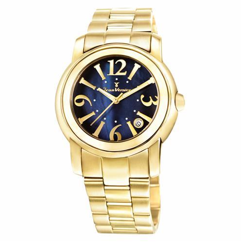 Relógio Jean Vernier Analógico JV1007 Fundo Azul