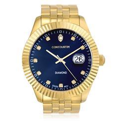Relógio Constantim Diamond Gold Blue ZW20065A 10 Diamantes