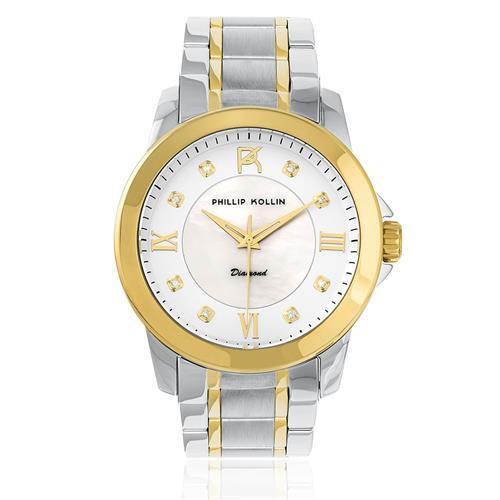 Relógio Feminino Phillip Kollin Diamond Mixed Gold White ZY28127S com 8 Diamantes