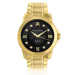 Relógio Feminino Phillip Kollin Diamond Gold Black ZY28127U com 8 Diamantes