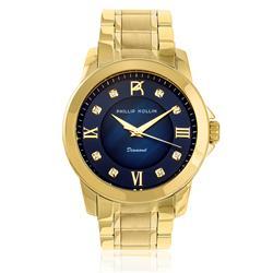 Relógio Feminino Phillip Kollin Diamond Gold Blue ZY28127A com 8 Diamantes