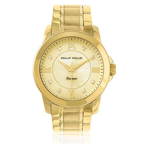 Relógio Feminino Phillip Kollin Diamond Gold ZY28127G com 8 Diamantes