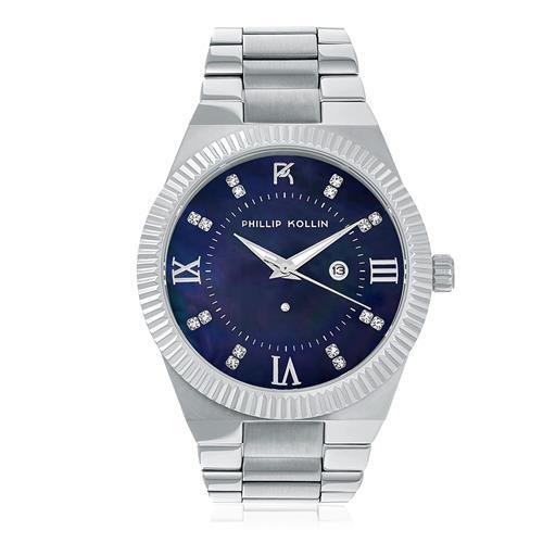 Relógio Feminino Phillip Kollin St. Maarten Royalty Silver Blue ZY28056F com Diamante